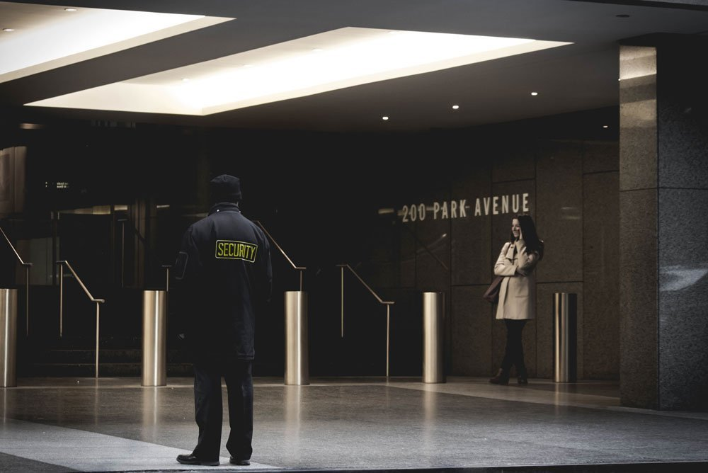 security officer in the lobby of a building